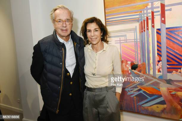 Olivier Orban and Christine Orban attend the Tribute to Leonardo Cremonini Exibition Preview at Galerie T Lon November 29 2017 in Paris France