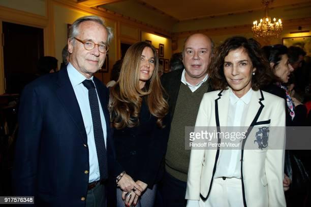 Olivier Orban Delphine MarangAlexandre Marc Lambron and Christine Orban attend Quelque Part dans cette Vie Generale at Theatre Edouard VII on...