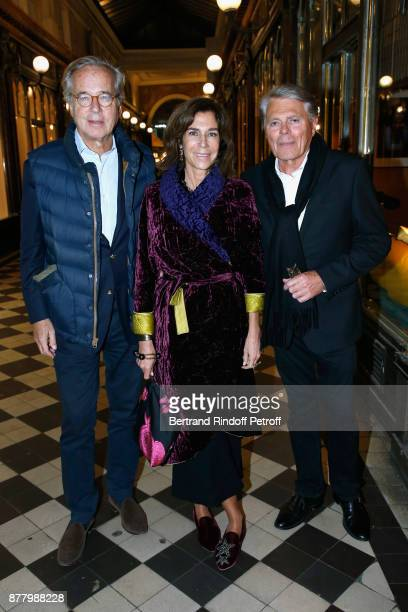 Olivier Orban his wife Christine Orban and Francois de Marigny attend the Ligne Blanche Boutique Opening at Galerie VeroDodat on November 23 2017 in...