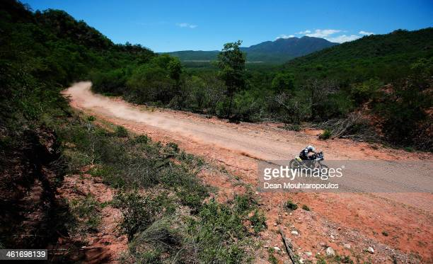 Olivier Pain of France on the Yamaha Factory Racing competes during Day 6 of the 2014 Dakar Rally on January 10, 2014 near Embalse Cabra Corral,...