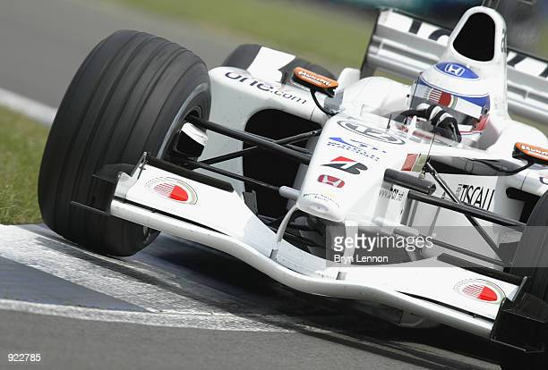 Olivier Panis of France and BAR in action qualifying for the British Grand Prix at Silverstone on July 6 2002 at Silverstone Circuit Northamptonshire...