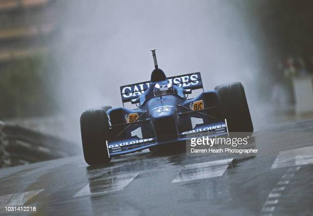 Olivier Panis of France drives the Prost Gauloises Blondes Prost JS45 Mugen Honda V10 in the rain to second place during the Formula One Monaco Grand...