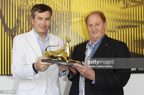 Olivier Pere and Mike Medavoy pose with the Premio Raimondo Rezzonico photocall during the 64th Festival del Film di Locarno on August 9 2011 in...