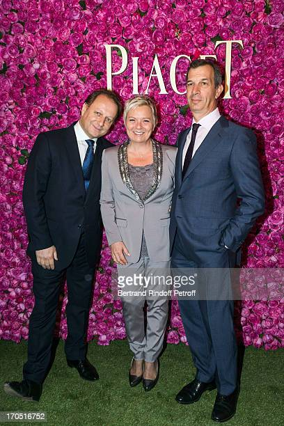 Olivier Perruchot Catherine Salvador and Philippe LeopoldMetzger attend the Piaget Rose Day Private Event in Orangerie Ephemere at Jardin des...