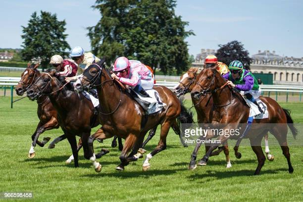 Olivier Peslier riding Finsbury Square win The Prix de GrosChene during the Prix du Jockey Club meeting at Hippodrome de Chantilly on June 3 2018 in...