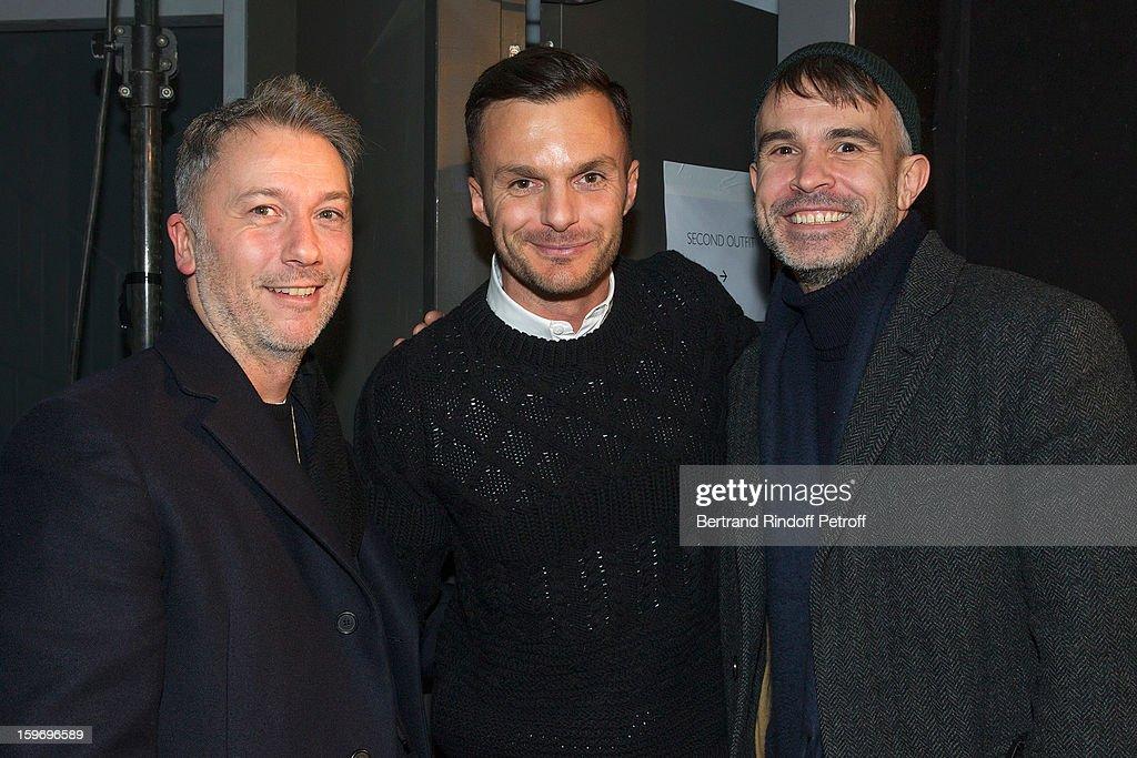 Olivier Rizzo, Kris Van Assche and Willy Vanderperre attend the Krisvanassche Men Autumn / Winter 2013 show as part of Paris Fashion Week on January 18, 2013 in Paris, France.