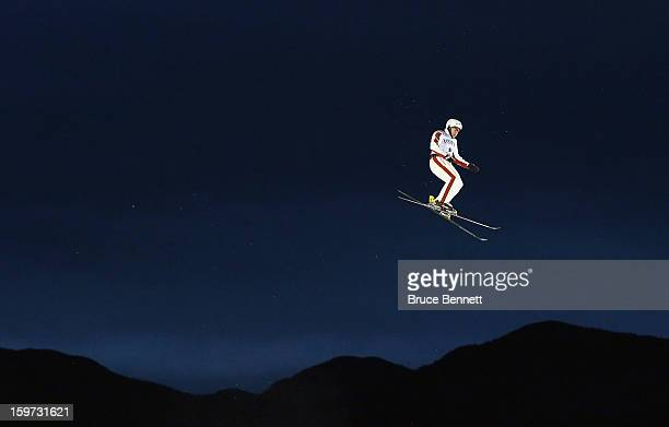 Olivier Rochon of Canada takes a practice jump prior to the qualification round in the USANA Freestyle World Cup aerial competition at the Lake...