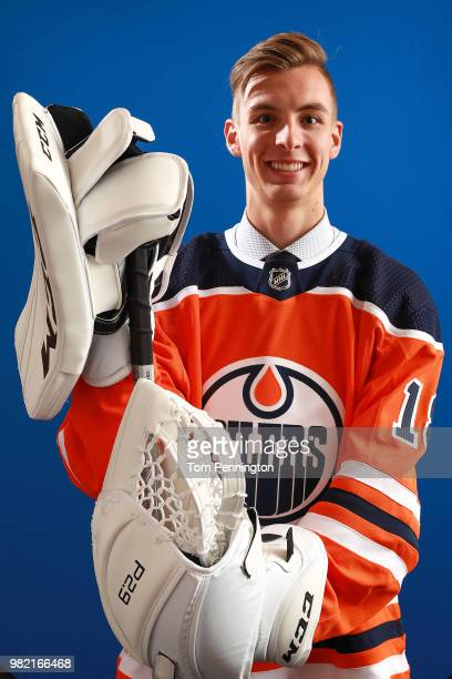 Olivier Rodrigue poses after being selected 62nd overall by the Edmonton Oilers during the 2018 NHL Draft at American Airlines Center on June 23 2018...