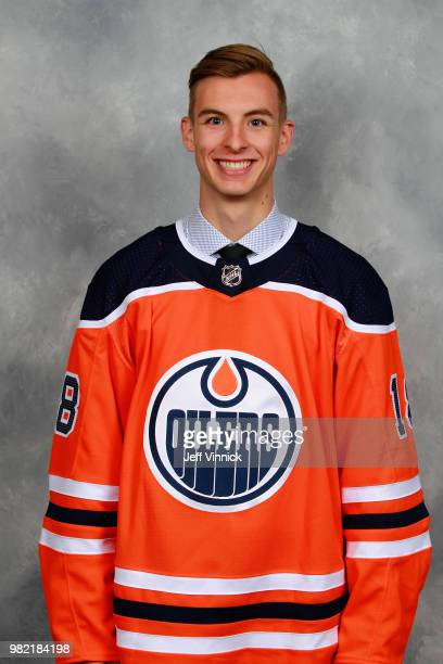 Olivier Rodrigue poses for a portrait after being selected 62nd overall by the Edmonton Oilers during the 2018 NHL Draft at American Airlines Center...