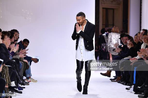 Olivier Rousteing acknowledges the applause of the public during the Balmain Homme Menswear Fall/Winter 20182019 show as part of Paris Fashion Week...