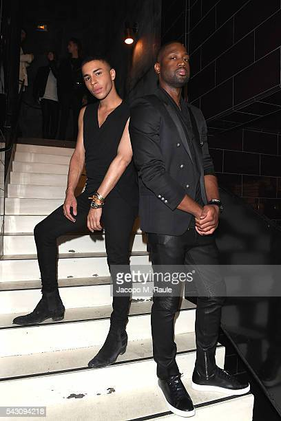 Olivier Rousteing and Dwyane Wade attend the Balmain Menswear Spring/Summer 2017 after party as part of Paris Fashion Week at Les Bains on June 25...