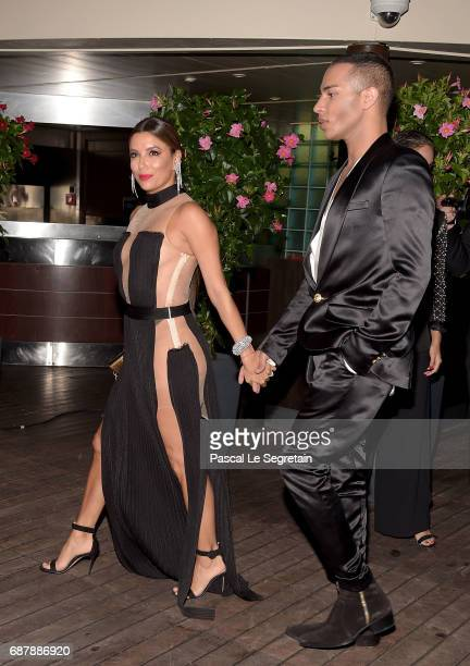 Olivier Rousteing and Eva Longoria attend the Gala 20th Birthday Of L'Oreal In Cannes during the 70th annual Cannes Film Festival at Martinez Hotel...