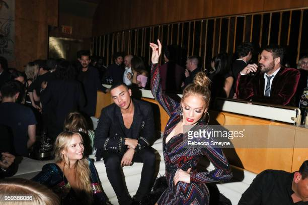Olivier Rousteing and Jennifer Lopez dance at the Boom Boom Afterparty for the Met Gala at the Top of the Standard on May 8 2018 in New York New York
