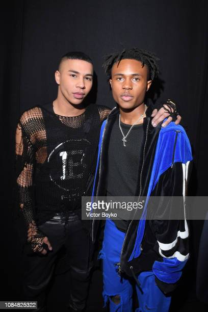 Olivier Rousteing and Kailand Morris are seen backstage after the Balmain Homme Menswear Fall/Winter 20192020 show as part of Paris Fashion Week on...