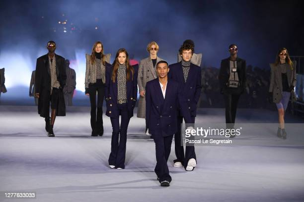 Olivier Rousteing and models are seen on the runway during the Balmain Womenswear Spring/Summer 2021 show as part of Paris Fashion Week on September...