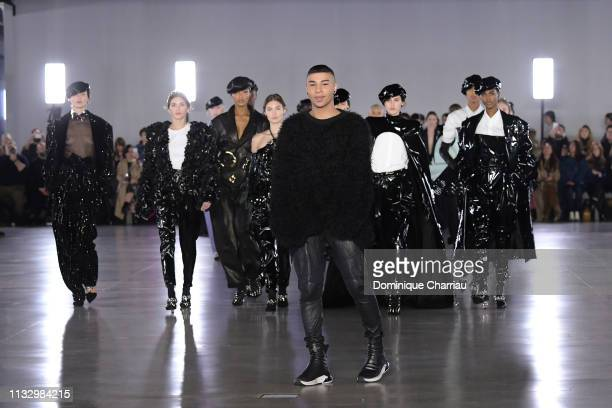 Olivier Rousteing and models walk the runway during the Balmain show as part of the Paris Fashion Week Womenswear Fall/Winter 2019/2020 on March 01...