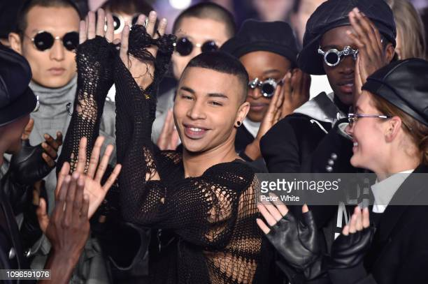 Olivier Rousteing and models walk the runway during the finale of Balmain Homme Menswear Fall/Winter 20192020 show as part of Paris Fashion Week on...