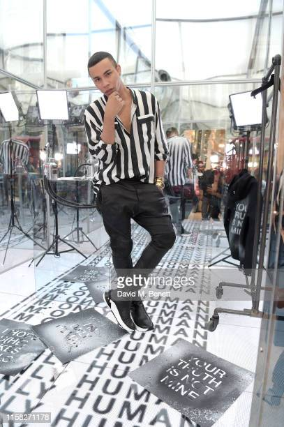 Olivier Rousteing attends Balmain Sneaker Corner Shop popup store at Selfridges on June 25 2019 in London England