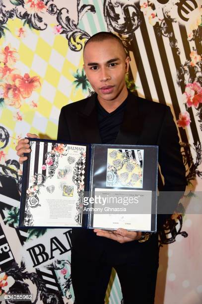 Olivier Rousteing attends the launch of the Heart Stamp Cocktail Celebration at Hotel ChoiseulPraslin on February 8 2017 in Paris France