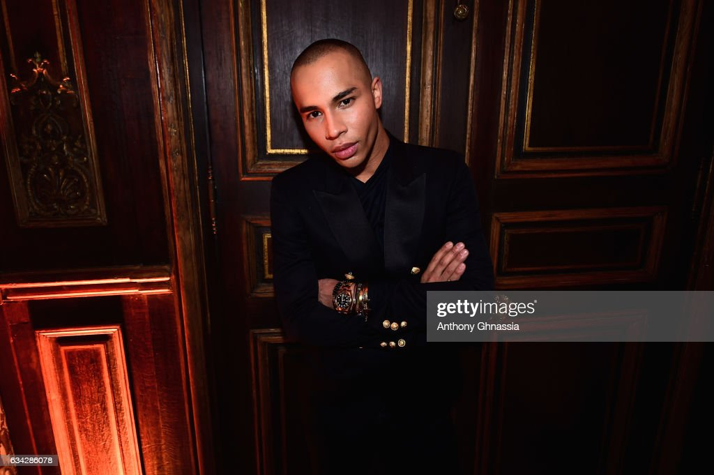 Olivier Rousteing attends the launch of the Heart Stamp Cocktail Celebration at Hotel Choiseul-Praslin on February 8, 2017 in Paris, France.