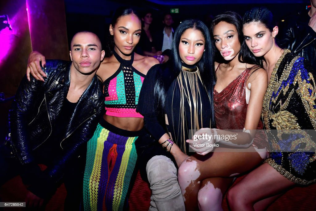 Olivier Rousteing, Jourdan Dunn, Nicki Minaj, Winnie Harlow and Sara Sampaio attend Balmain aftershow party as part of Paris Fashion Week Womenswear Fall/Winter 2017/2018 at Manko Paris on March 2, 2017 in Paris, France.