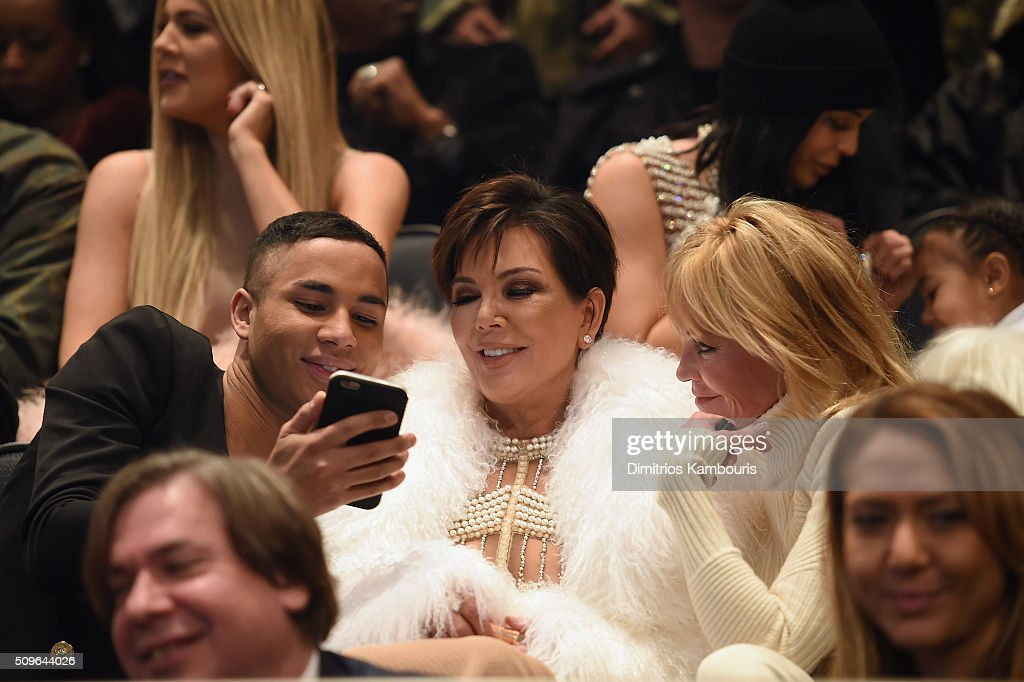 Olivier Rousteing, Kris Jenner and Melanie Griffith attend Kanye West Yeezy Season 3 on February 11, 2016 in New York City.