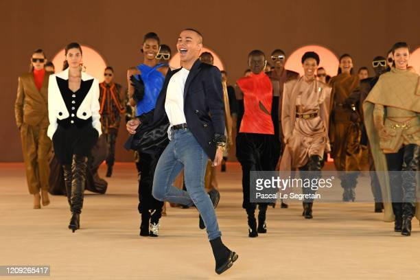 Olivier Rousteing walks the runway after the Balmain show as part of the Paris Fashion Week Womenswear Fall/Winter 2020/2021 on February 28 2020 in...