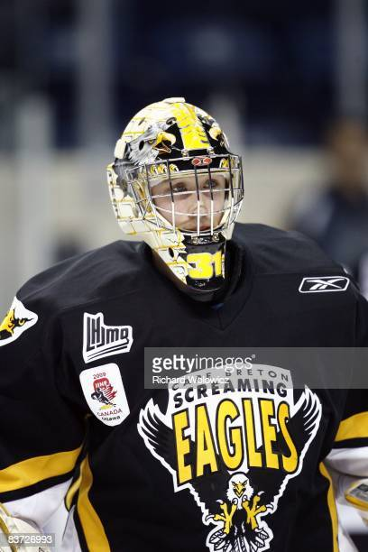 Olivier Roy of the Cape Breton Screaming Eagles skates during the warm up period prior to facing the Quebec Remparts at the Colisee Pepsi on November...
