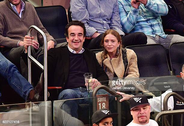 Olivier Sarkozy and MaryKate Olsen attend New York Knicks vs Brooklyn Nets game at Madison Square Garden on November 9 2016 in New York City