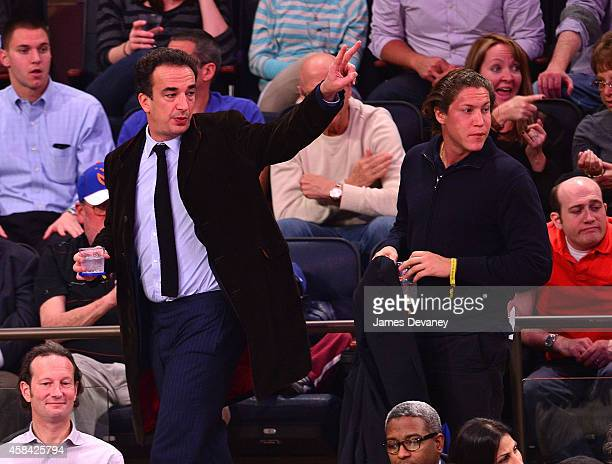 Olivier Sarkozy and Vito Schnabel attend the Washington Wizards Vs New York Knicks game at Madison Square Garden on November 4 2014 in New York City