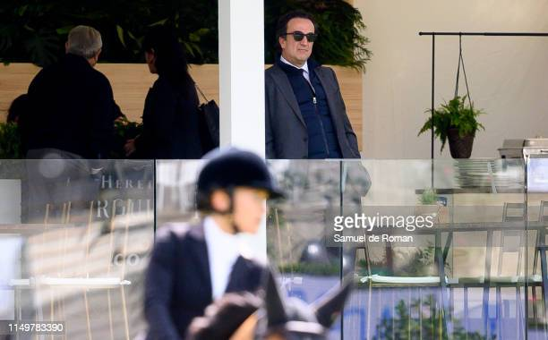 Olivier Sarkozy watches MaryKate Olsen competing during MadridLongines Champions the International Global Champions Tour at Club de Campo Villa de...