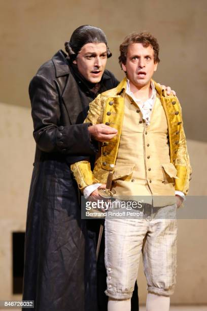 Olivier Sitruk and Maxime d'Aboville perform in 'Les Jumeaux Venitiens' Press Theater Play at Theatre Hebertot on September 6 2017 in Paris France