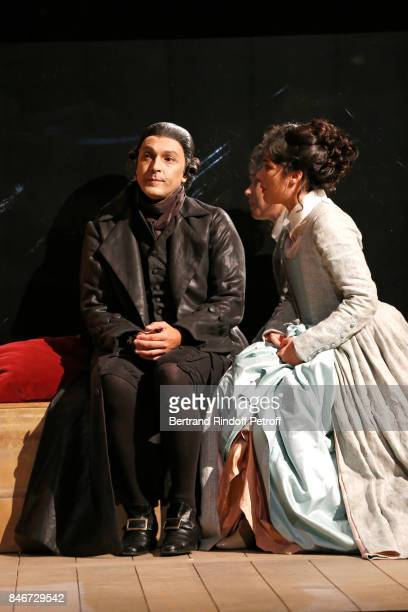 Olivier Sitruk and Victoire Belezy perform in 'Les Jumeaux Venitiens' Press Theater Play at Theatre Hebertot on September 6 2017 in Paris France