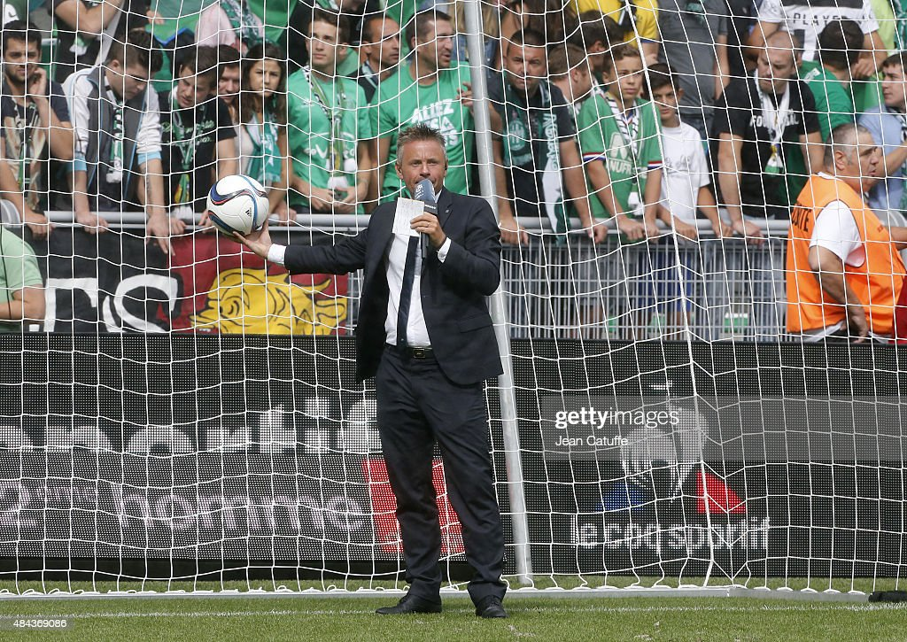 Olivier Tallaron of Canal Plus comments the French Ligue 1 match between AS Saint-Etienne (ASSE) and FC Girondins de Bordeaux at Stade Geoffroy-Guichard on August 15, 2015 in Saint-Etienne, France.
