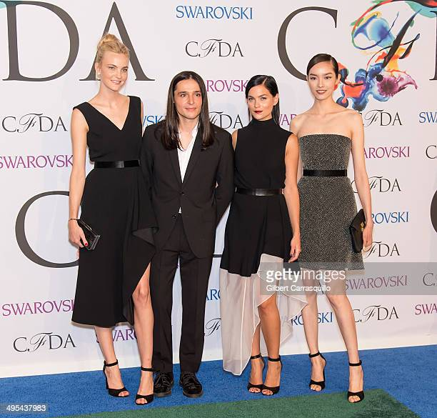 Olivier Theyskens and Leigh Lezark attend the 2014 CFDA fashion awards at Alice Tully Hall, Lincoln Center on June 2, 2014 in New York City.