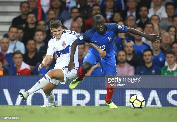 Olivier Thill of Luxembourg N'Golo Kante of France during the FIFA 2018 World Cup Qualifier between France and Luxembourg at the Stadium on September...