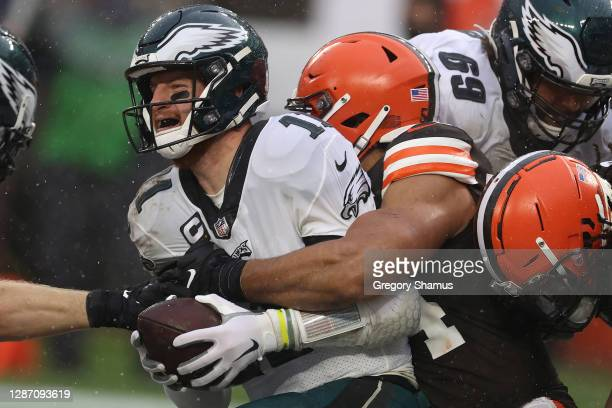 Olivier Vernon of the Cleveland Browns sacks Carson Wentz of the Philadelphia Eagles during the second half at FirstEnergy Stadium on November 22,...