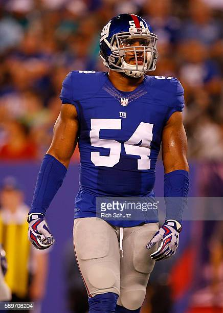 Olivier Vernon of the New York Giants during the first half against the Miami Dolphins in an NFL preseason game at MetLife Stadium on August 12 2016...