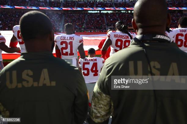 Olivier Vernon of the New York Giants kneels during the national anthem prior to their NFL game against the San Francisco 49ers at Levi's Stadium on...