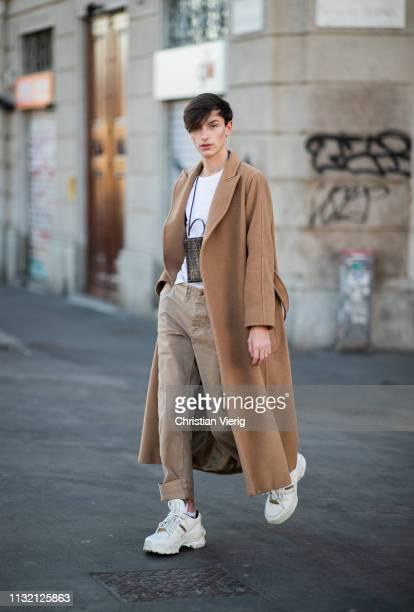 Olivier Weber is seen wearing brown Max Mara coat COS top Fendi bag Boglioli trousers Margiella shoes on Day 5 Milan Fashion Week Autumn/Winter...