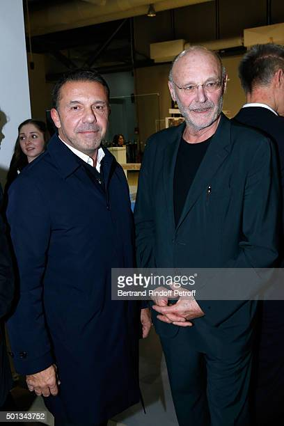Olivier Widmaier Picasso and Artist Anselm Kiefer attend the Anselm Kiefer's Exhibition Press Preview held at Centre Pompidou on December 14 2015 in...