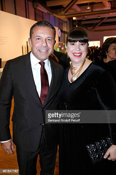 Olivier Widmaier Picasso and Artist Joana Vasconcelos attend the Societe des Amis du Musee National d'Art Moderne Dinner at Beaubourg on January 20...