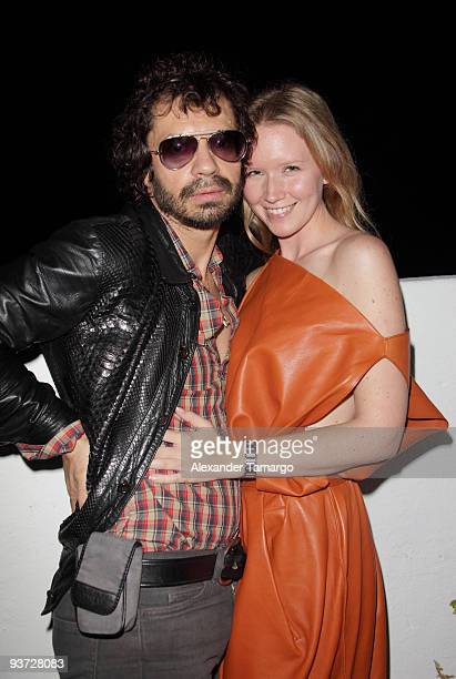 Olivier Zahm and Dawn Goldworm attend the AnOther Magazine's Art Editions launch during Miami Art Basel at the Delano Hotel on December 2 2009 in...