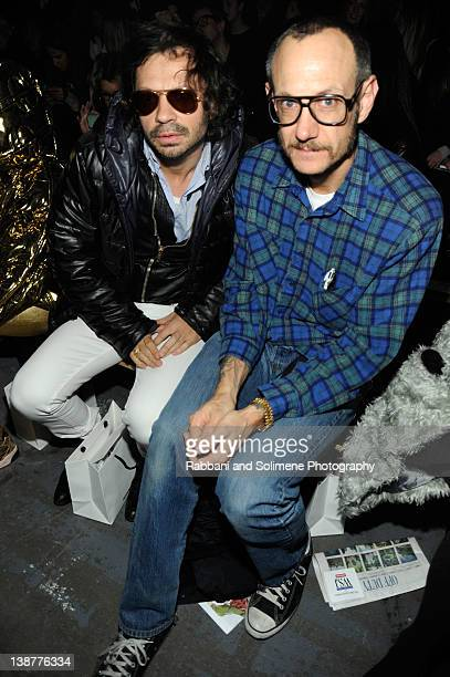 Olivier Zahm and photographer Terry Richardson attends the Alexander Wang Fall 2012 fashion show during MercedesBenz Fashion Week at Pier 94 on...