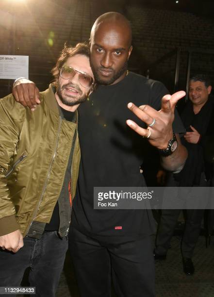 Olivier Zahm and Virgil Abloh attend the Off White show as part of the Paris Fashion Week Womenswear Fall/Winter 2019/2020 on February 28 2019 in...