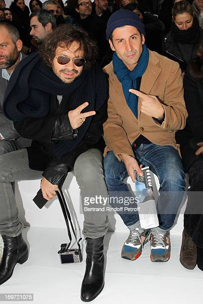 Olivier Zahn and Andre Saraiva coowner of Paris famed nightclub 'Le Baron' attend the Dior Homme Men Autumn / Winter 2013 show as part of Paris...