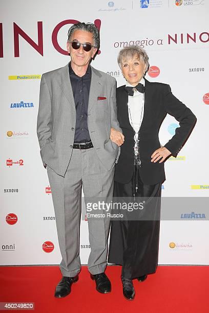 Oliviero Rainaldi and Erminia Ferrari attend the Homage To Nino Manfredi photocall at Auditorium della Conciliazione on June 7 2014 in Rome Italy