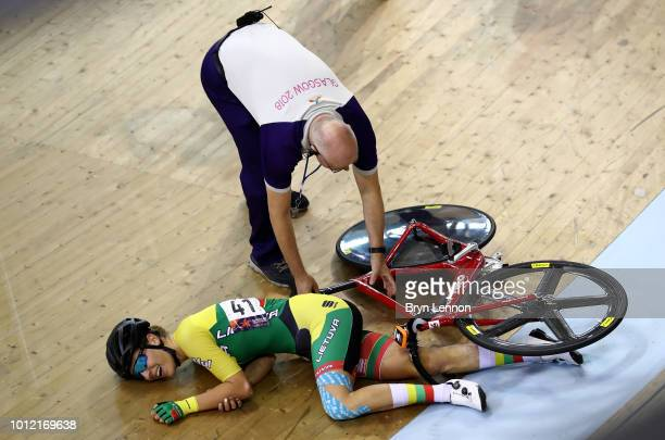 Olivija Baleisyte of Lithuania crashes during the Women's Omnium Elimination race during the track cycling on Day five of the European Championships...