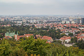Oliwa district and beyond in Gdansk, Poland, viewed from above on a cloudy day.