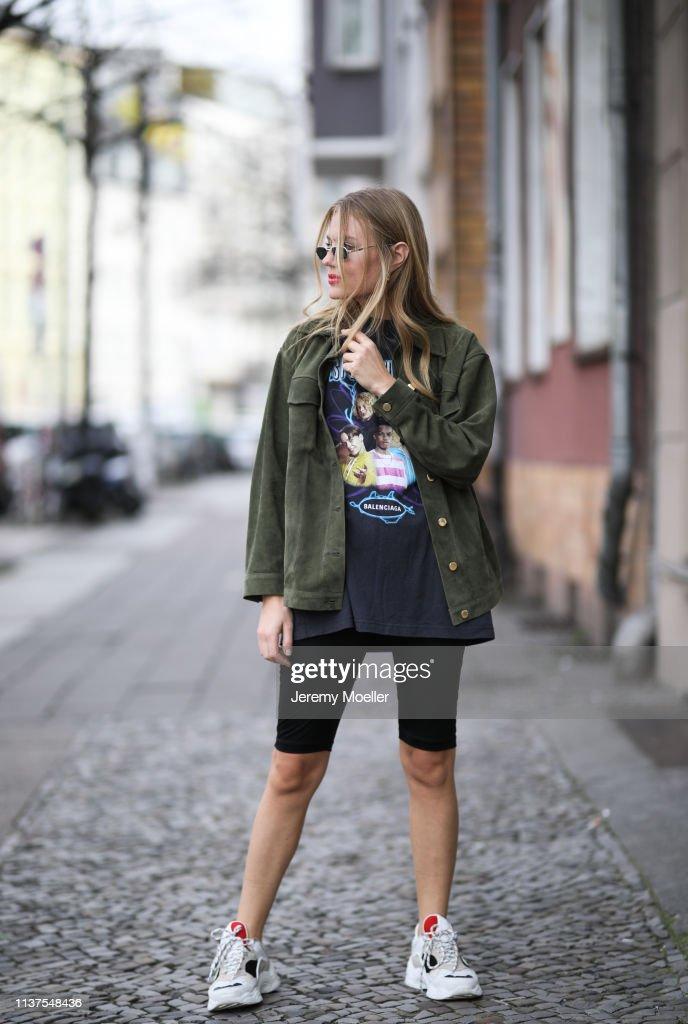 e04de1426d1 Olja Ryzevski wearing Jacket Sandro Paris, Shirt Balenciaga, Shorts ...